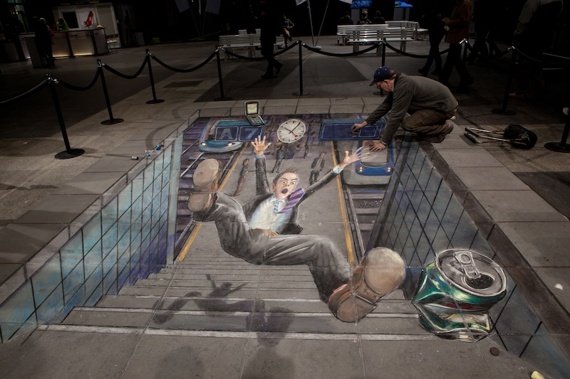 amazing 3d drawing by a street artist